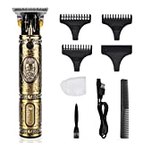 Elektrischer Haarschneider RIRGI Profi 0mm T-Blade Trimmer USB-Wiederaufladbar Haarschneidemaschine Männer, Haartrimmer mit 3 Führungskämmen, Bürste und...