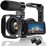 4K Videokamera Camcorder Ultra HD 48MP WiFi IR Nachtsicht-Vlogging-Kamera für 3' IPS-Touchscreen 16X Digitalzoom YouTube-Kamerarecorder mit Mikrofon,...