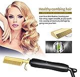 Top Beauty Haarglätter, 450ºF High Heat Keramik Heißkamm Nass oder trocken Verwenden Sie Haarglätter Eisenkamm Elektrisch Umweltfreundlich Gold Neue...
