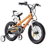 RoyalBaby Kinderfahrrad Jungen Mädchen Freestyle BMX Fahrrad Stützräder Laufrad Kinder Fahrrad 16 Zoll Orange