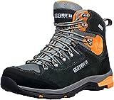 GUGGEN Mountain PM026 Herren Trekking-& Wanderstiefel Wanderschuhe Trekkingschuhe Outdoorschuhe wasserdicht mit Membran und Wildleder Farbe Schwarz-Orange EU 45