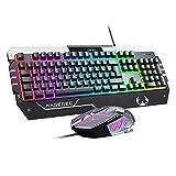 Gaming Tastatur und Maus Set USB Tastatur RGB LED Hintergrundbeleuchtung DE Layout Anti-Ghosting Wired Keyboard für PC/Computer/Laptop/Xbox / PS4 / Tablets und...