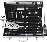 grilljoy Grill Werkzeugset mit Geschenkverpackung, 25 pc Edelstahl Grillzubehör mit hitzebeständigem Griff im Aluminiumgehäuse, Premium-Komplett-Geschenkset...