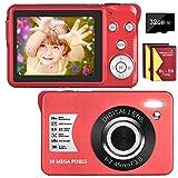 Digitalkamera 30 MP 1080P Fotoapparat Digitalkamera Kompaktkamera 8X Digital Zoom-Minikamera 2,7-Zoll-LCD-Bildschirmkamera (Rot)