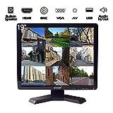 19-Zoll Profi CCTV-Monitor mit VGA HDMI AV BNC, 1280x1024 Eingebauter Lautsprecher(LED-Hintergrundlicht) LCD-Sicherheitsbildschirm mit USB-Laufwerksplayer für...