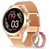 Aney Well Smartwatch Damen, Smart Armbanduhr Fitness Tracker Wasserdicht IP68 Fitnessuhr Pulsuhren Sportuhr Schrittzähler Uhr Schlafmonitor für Android iOS