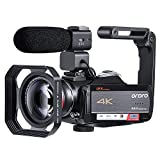 ORDRO 4K Camcorder Videokamera Ultra 1080P 60FPS Vlog Kamera 12X Optisches Objektiv 3,1-Zoll-IPS-Touchscreen-WiFi-Digitalkamera-Recorder mit...
