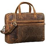 STILORD 'Conrad' Businesstasche Aktentasche Leder mit 15.6 Zoll Laptop-Fach Zweifachteilung Vintage Umhängetasche für Büro Arbeit Leder Tasche, Farbe:mittel...