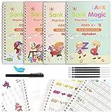 Magisches Übungsbuch mit Stift, 4 Stück, wiederverwendbares Kaligrafiebuch für Kinder, Schreibtafel, Kinder-Handschrift, zum Zeichnen, Mathematik, Zahlen,...