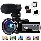 ACTITOP 4K Camcorder, Videokamera 48MP Full HD 1080P WiFi IR Nachtsicht 16X Digital Zoom Camcorder mit externem Mikrofon, Weitwinkelobjektiv, LED Videoleuchte...