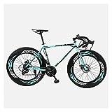 26 Zoll 27 Geschwindigkeit Kohlenstoffstahl Rennrad 700c Räder Scheibenbremse Für Erwachsene (Color : Bianchi Black, Size : 27 Speed)