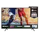 Hisense 70AE7000F 178 cm (70 Zoll) Fernseher (4K Ultra HD, HDR, Triple Tuner DVB-C/S/S2/T/T2, Smart-TV, Frameless, Bluetooth, Alexa, verstellbare Standfüße, 3...