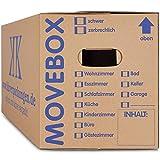 KK-Verpackungen Umzugskartons, 20 Stück, (Profi) STABIL + 2-WELLIG - Umzug Karton Kisten Verpackung Bücher Schachtel