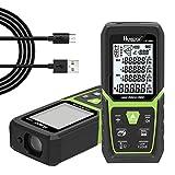 Huepar Laser Entfernungsmesser 100M mit Li-Ion-Akku, mit LCD Hintergrundbeleuchtung M/In/Ft mit Mehreren Messmodi wie Pythagoras/Abstand/Fläche/Volumen...