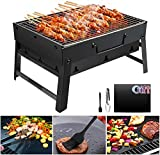 Holzkohlegrill GolWof Faltbare BBQ Grill Holzkohlegrill Edelstahl Portable Outdoor Campinggrill Picknickgrill Tragbarer Klappgrill Gute Belüftung für 3-5...