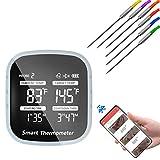 Intelligent Grillthermometer mit 6 Edelstahlsonden Bluetooth Fleischthermometer Digitales Bratenthermometer für Küche, Backofen, Zucker, BBQ, Grill Zubehör