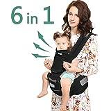 Windsleeping Babybauchtragen Babytrage, Bauchtrage, Rückentrage Neugeborene 6 Position - für Neugeborene & Kleinkinder (0-22 kg) - Schwarz