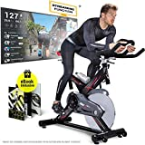 Sportstech Profi Indoor Cycle SX400 –Deutsche Qualitätsmarke-mit Video Events & Multiplayer APP, 22KG Schwungrad, Pulsgurt kompatibel-Speedbike mit leisem...