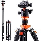 K&F Concept Kamerastativ SA254M1, Aluminium Stativ mit Einbeinstativ, 1/4 Zoll Gewinde Reisestativ mit 360° Kugelkopf für Canon Nikon Sony Spiegelreflexkamera...