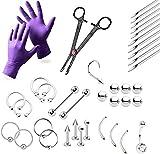 37-teiliges Profi-Piercing-Kit–Lippe, Brustwarze, Bauch, Augenbrauen, Zunge, Ohr, Piercingschmuck–Nadeln, Handschuhe und Werkzeuge im Lieferumfang...