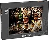 fotopuzzle.de Puzzle 1000 Teile Viel Alkohol, Whiskey, Tequila, Bourbon, Brandy, Rum auf Einer Holztheke, Vintage-Foto (1000, 200 oder 2000 Teile)