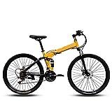 MYRCLMY 24 / 26In Carbon Steel Mountainbike 24-Gang-Fahrrad Fully MTB Gebirgs Folding Fahrrad Erwachsene Männer Und Frauen Racing Off-Road Variable...