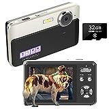 Digitalkamera Kompaktkameras 24MP Wiederaufladbare 2,4 Zoll TFT-Bildschirm Fotoapparat Digitalkamera mit 32 GB SD-Karte und Digitalkameras für Anfänger,...