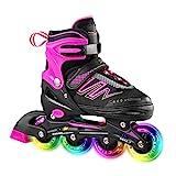 Hiboy verstellbare Inline-Skates mit Allen beleuchteten Rädern, beleuchteten Outdoor- und Indoor-Rollschuhen für Jungen, Mädchen, Anfänger,Rosa,Medium 34-37
