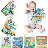 Adasea 6 Stück Baby Lernbücher Stoffbuch Schwanzspiel Stoffbücher 3D Schwanz Schöne Anti-Riss-Stoff Buch Soft-Bilderbuch Baby Spielzeug Pädagogisches...