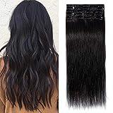 TESS Echthaar Extensions Clip in Haarteile Schwarz #1 Remy Haar Extensions günstig Haarverlängerung 18 Clips 8 Tressen Lang Glatt, 20'(50cm)-70g