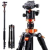 K&F Concept 200cm Stativ, S210 Aluminium Kamera Stativ, Reisestativ mit Einbeinstativ, Fotostativ 360° Kugelkopf mit Schnellwechselplatte für Canon Nikon Sony...