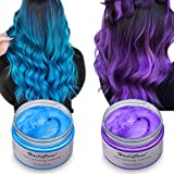 Haarfarbe Wachs, HailiCare 2x120g Temporäre Haarfarbe Farbstoff, DIY Haar Styling Cream, Natürliche Frisur Wachs Haar Styling Wachs Haar Cream für Party,...