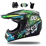 MRDEAR Fullface MTB Helm, Motorrad Crosshelm mit Brille (4 Stück/Schwarz und Grün) Motocross Helm Herren Kinder Enduro Cross Helm Motorradhelm für Fahrrad...