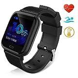 Huyeta Smartwatch Fitness Armbanduhr für Damen Herren Kinder Sportuhr IP67 Wasserdich Fitness Tracker mit Schrittzähler Pulsmesser für iOS Android Handy...