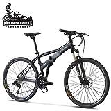 NENGGE Faltbare Mountainbike Erwachsenen 26 Zoll, 27 Gang-Schaltung Hardtail MTB mit Gabelfederung für Herren/Damen, Scheibenbremsen Fahrräder,Schwarz