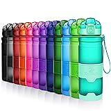 ZOUNICH Trinkflasche Sport BPA frei Kunststoff Sporttrinkflaschen für Kinder Schule, Joggen, Fahrrad, öffnen mit Einer Hand Trinkflaschen Filter, Smaragd,...