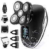 Glatzen Rasierer Herren, OriHea TwinShaver Rasierer LED-Display Präzisionstrimmer Bartschneider Nass&Trockenrasierer IPX7 Wasserdicht, 5 IN 1 Rotationsrasierer...