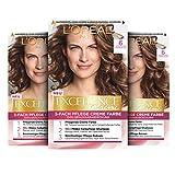 L'Oréal Paris Excellence Creme Permanente Haarfarbe, 100% Grauhaarabdeckung, Haarfärbeset mit Coloration, Shampoo und 3-fach Pflegecreme, 6 Dunkelblond, 3 x...