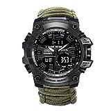 Survival Emergency Survival-Armband, Herren- Und Damenuhr Mit/Feuerstarter/Kompass und Thermometeruhr, Multifunktionale Kalorienzähleruhr Für...