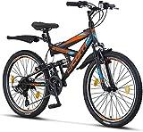 Licorne Bike Strong V Premium Mountainbike in 24 Zoll - Fahrrad für Jungen, Mädchen, Damen und Herren - 21 Gang-Schaltung - Vollfederung - Schwarz/Blau/Orange