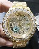 LESHARED Männer Silber Gold Rom Tag Datum Iced Diamond Armband Automatische mechanische Edelstahl Saphir Uhr 44mmGold