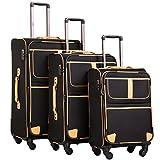 COOLIFE Stoff-Koffer Rollkoffer Leichtgewicht Reisekoffer Vergrößerbares Gepäck mit TSA-Schloss und 4 leiser Rollen (Schwarz, Koffer-Set)