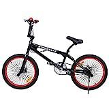 Ridgeyard BMX Fahrrad 20 Zoll Freestyle 360° Rotor-System,Freestyle 4 Pegs BMX Bike (Schwarz + Rot)