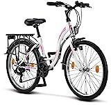 Licorne Bike Stella Premium City Bike in 24 Zoll - Fahrrad für Mädchen, Jungen, Herren und Damen - Shimano 21 Gang-Schaltung - Hollandfahrrad - Weiss