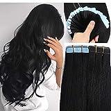 SEGO Tape Extensions Echthaar 20 Stück Klebeband Haarverlängerung Haarteile 100% Remy Human Haar Schwarz#1 20'(50cm)-30g