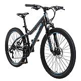 BIKESTAR Hardtail Aluminium Mountainbike Shimano 21 Gang Schaltung, Scheibenbremse 26 Zoll Reifen | 16 Zoll Rahmen Alu MTB | Schwarz & Blau