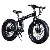 WJH Mountainbike Falträder, 26inch 24-Gang-Doppelscheibenbremse Fully Anti-Rutsch, Federgabel,Schwarz,26 inch 24 Speed