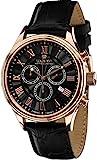 LOUIS XVI Herren-Armbanduhr Danton Rosegold Schwarz Römische Zahlen Chronograph Analog Quarz echtes Leder Schwarz 517