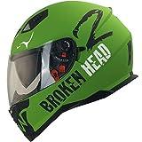 Broken Head Adrenalin Therapy VX2 - Motorrad-Helm Mit Sonnenblende - Military-Grün Matt - Größe L (58-59 cm)