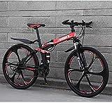 LHQ-HQ Mountainbike Falträder, 26in 21Speed Doppelscheibenbremse Fully Antislip, leichten Alurahmen, Federgabel Outdoor-Sport Mountainbike (Color : Red,...